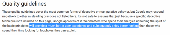 Extract from Google Quality guidelines for webmasters