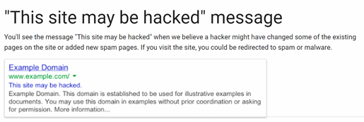 Google SERPS showing Your Website May be Hacked